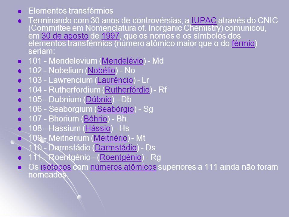 Elementos transférmios Terminando com 30 anos de controvérsias, a IUPAC através do CNIC (Committee em Nomenclatura of. Inorganic Chemistry) comunicou,