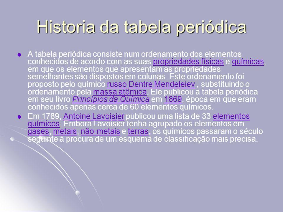 Historia da tabela periódica A tabela periódica consiste num ordenamento dos elementos conhecidos de acordo com as suas propriedades físicas e química