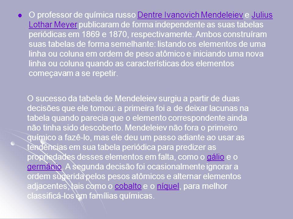 O professor de química russo Dentre Ivanovich Mendeleiev e Julius Lothar Meyer publicaram de forma independente as suas tabelas periódicas em 1869 e 1
