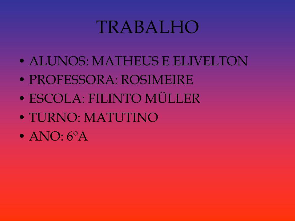 TRABALHO ALUNOS: MATHEUS E ELIVELTON PROFESSORA: ROSIMEIRE ESCOLA: FILINTO MÜLLER TURNO: MATUTINO ANO: 6ºA