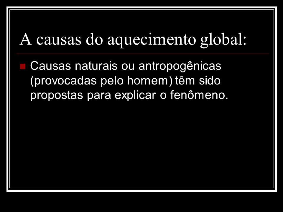 A causas do aquecimento global: Causas naturais ou antropogênicas (provocadas pelo homem) têm sido propostas para explicar o fenômeno.