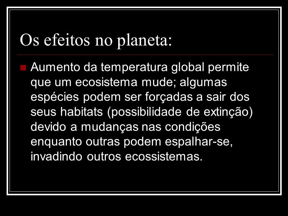 Os efeitos no planeta: Aumento da temperatura global permite que um ecosistema mude; algumas espécies podem ser forçadas a sair dos seus habitats (pos