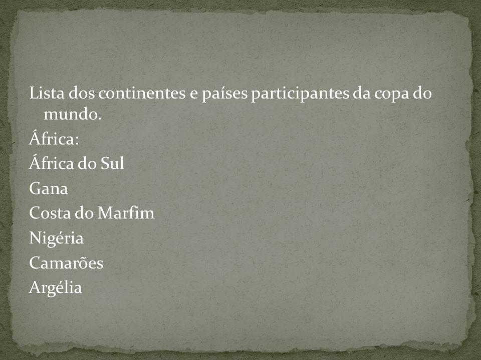 Lista dos continentes e países participantes da copa do mundo.