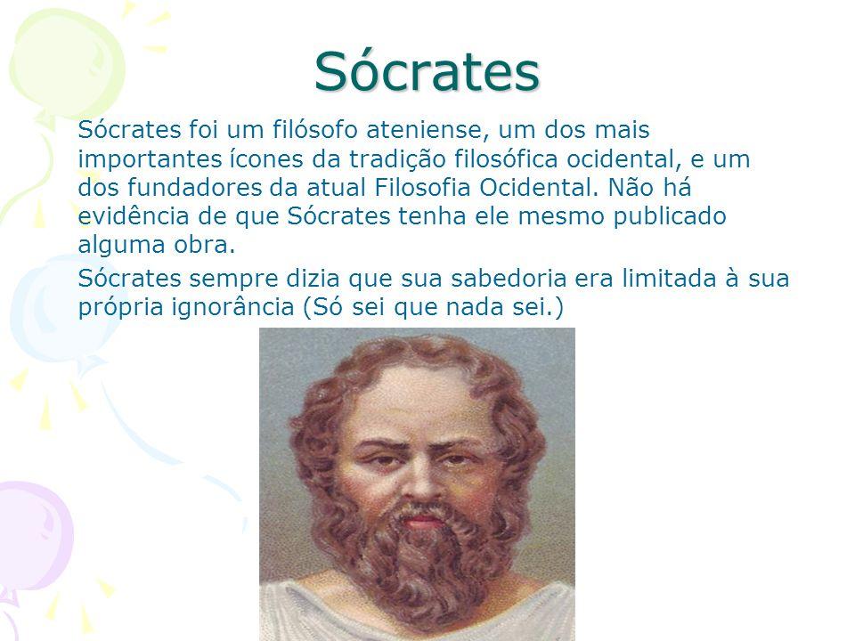 Sócrates Sócrates foi um filósofo ateniense, um dos mais importantes ícones da tradição filosófica ocidental, e um dos fundadores da atual Filosofia O