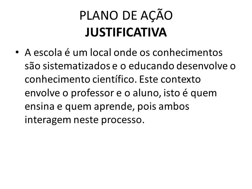PLANO DE AÇÃO JUSTIFICATIVA A escola é um local onde os conhecimentos são sistematizados e o educando desenvolve o conhecimento científico.