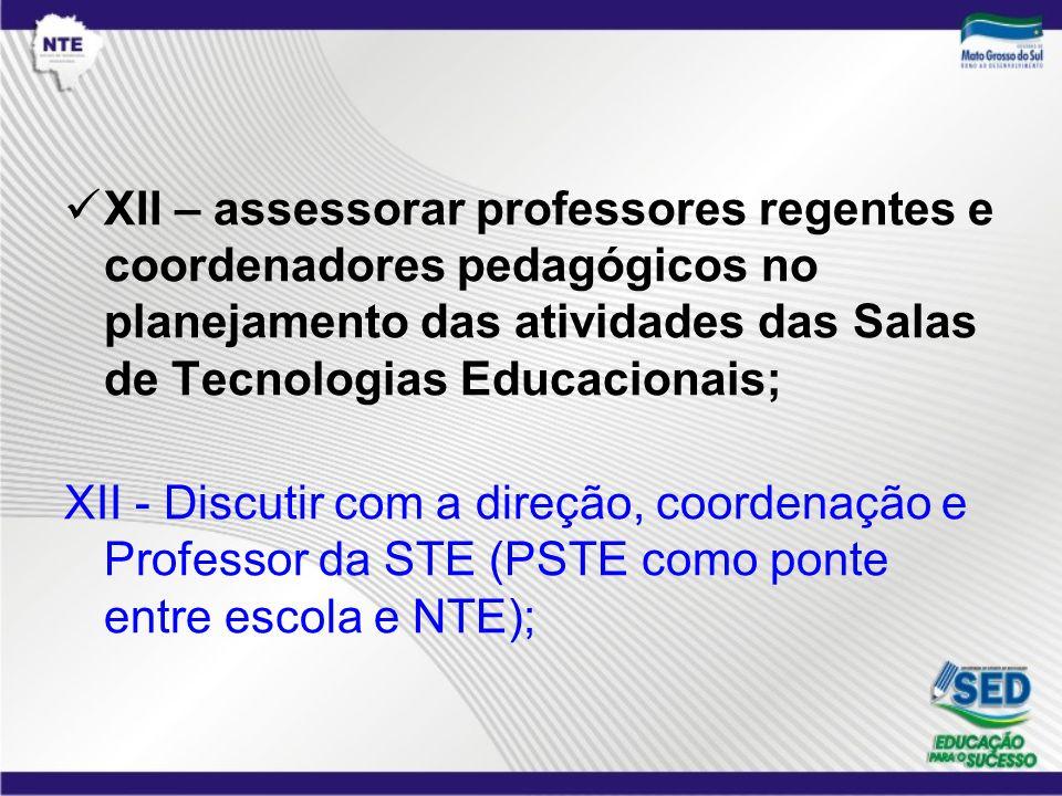 XII – assessorar professores regentes e coordenadores pedagógicos no planejamento das atividades das Salas de Tecnologias Educacionais; XII - Discutir