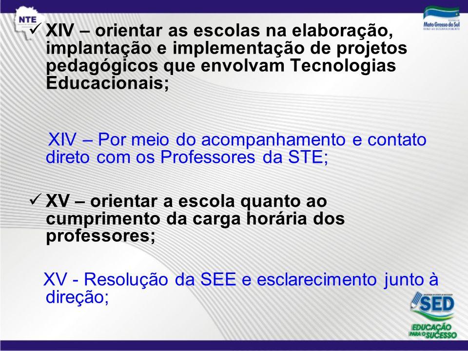 XIV – orientar as escolas na elaboração, implantação e implementação de projetos pedagógicos que envolvam Tecnologias Educacionais; XIV – Por meio do