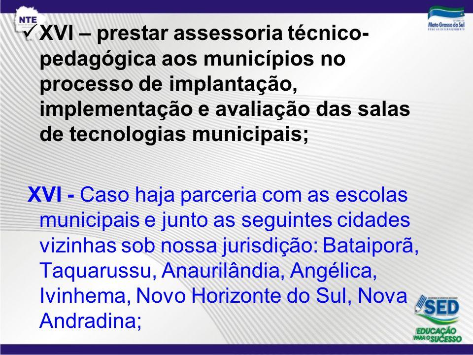 XVI – prestar assessoria técnico- pedagógica aos municípios no processo de implantação, implementação e avaliação das salas de tecnologias municipais;