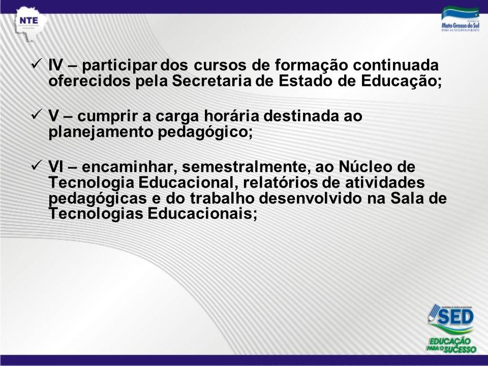 IV – participar dos cursos de formação continuada oferecidos pela Secretaria de Estado de Educação; V – cumprir a carga horária destinada ao planejame