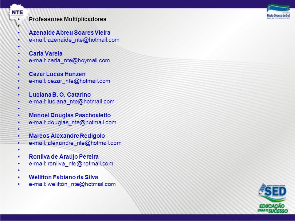 Professores Multiplicadores Azenaide Abreu Soares Vieira e-mail: azenaide_nte@hotmail.com Carla Varela e-mail: carla_nte@hoymail.com Cezar Lucas Hanze