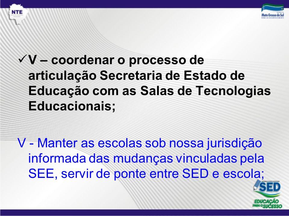 V – coordenar o processo de articulação Secretaria de Estado de Educação com as Salas de Tecnologias Educacionais; V - Manter as escolas sob nossa jur