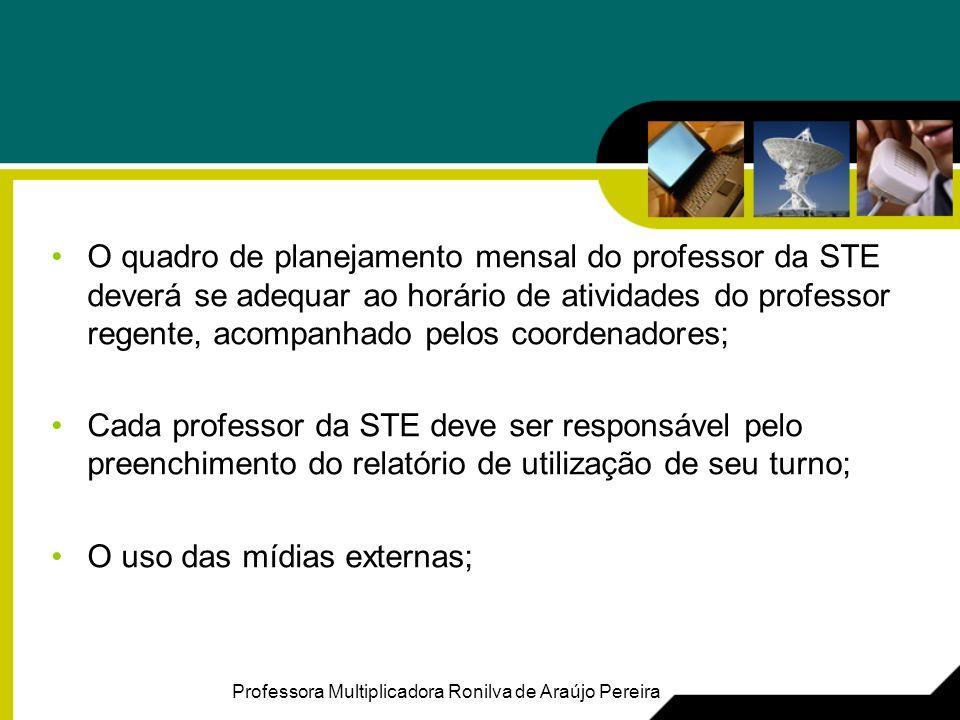O quadro de planejamento mensal do professor da STE deverá se adequar ao horário de atividades do professor regente, acompanhado pelos coordenadores; Cada professor da STE deve ser responsável pelo preenchimento do relatório de utilização de seu turno; O uso das mídias externas; Professora Multiplicadora Ronilva de Araújo Pereira