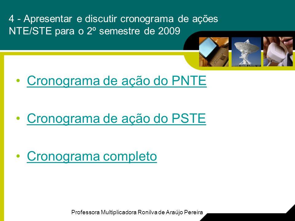 4 - Apresentar e discutir cronograma de ações NTE/STE para o 2º semestre de 2009 Cronograma de ação do PNTE Cronograma de ação do PSTE Cronograma completo Professora Multiplicadora Ronilva de Araújo Pereira
