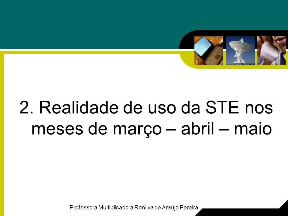 2. Realidade de uso da STE nos meses de março – abril – maio Professora Multiplicadora Ronilva de Araújo Pereira