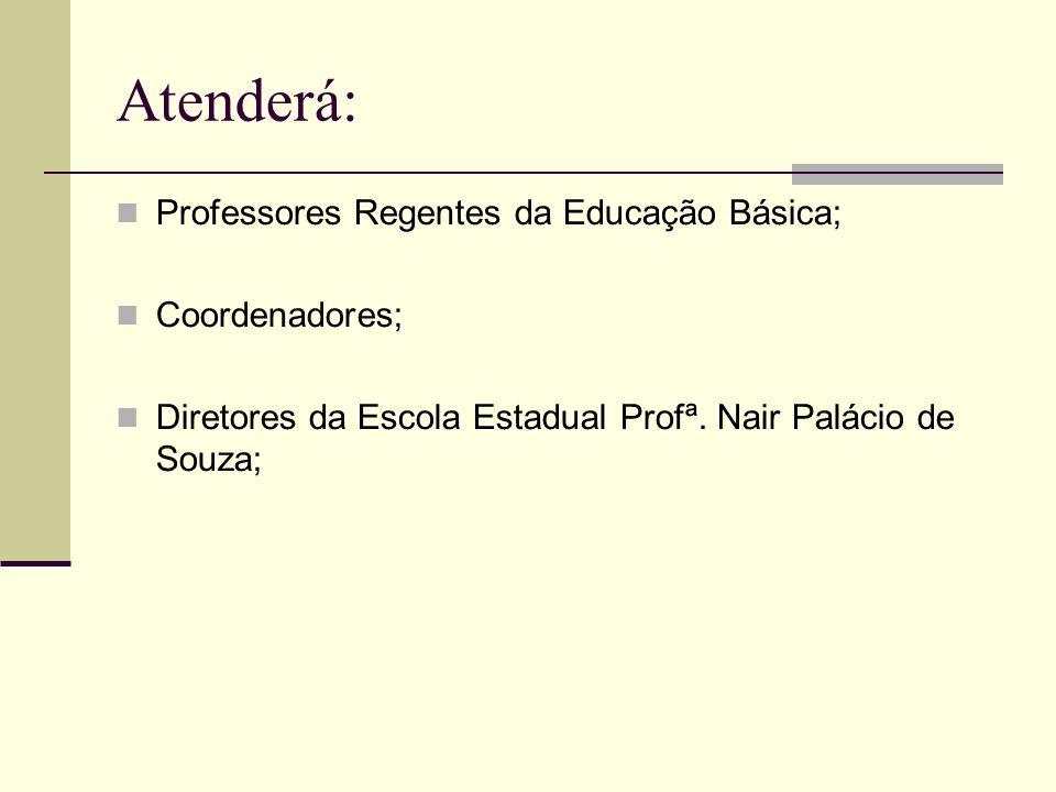 Atenderá: Professores Regentes da Educação Básica; Coordenadores; Diretores da Escola Estadual Profª.