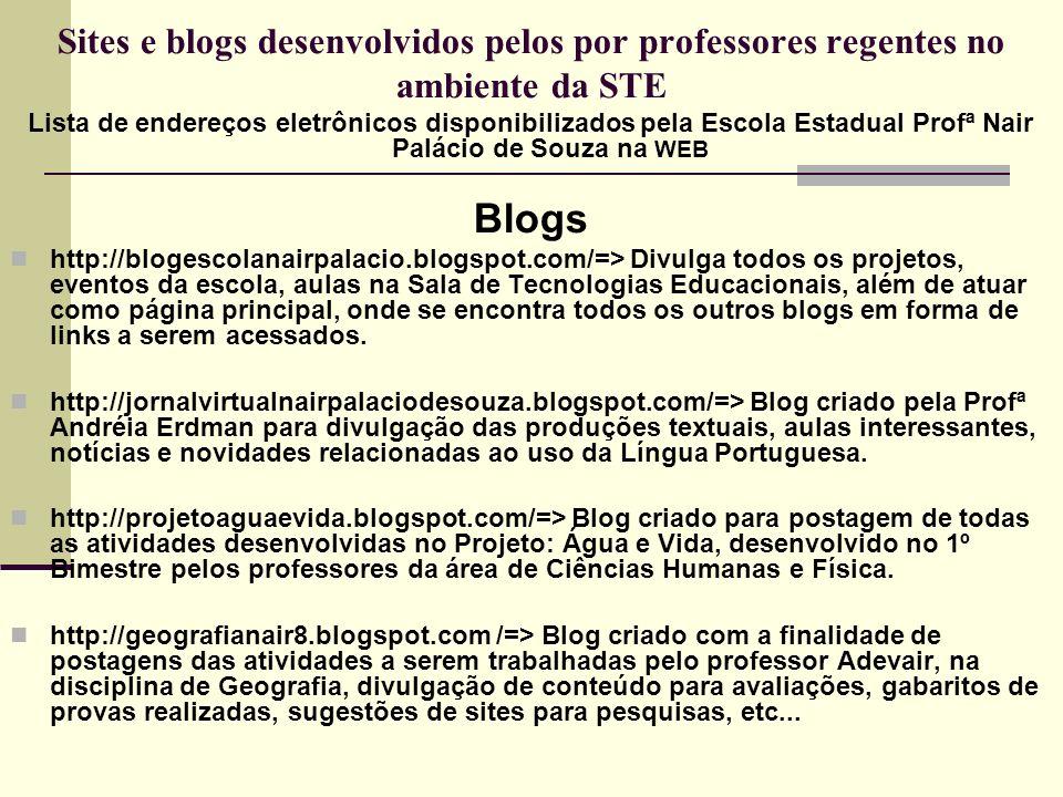 http://geografianair9.blogspot.com/=> Blog criado com a finalidade de postagens das atividades a serem trabalhadas pelo professor Adevair, na disciplina de Geografia, divulgação de conteúdo para avaliações, gabaritos de provas realizadas, sugestões de sites para pesquisas, etc...