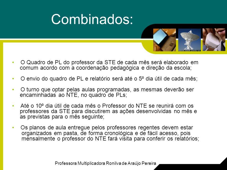 Combinados: O Quadro de PL do professor da STE de cada mês será elaborado em comum acordo com a coordenação pedagógica e direção da escola; O envio do