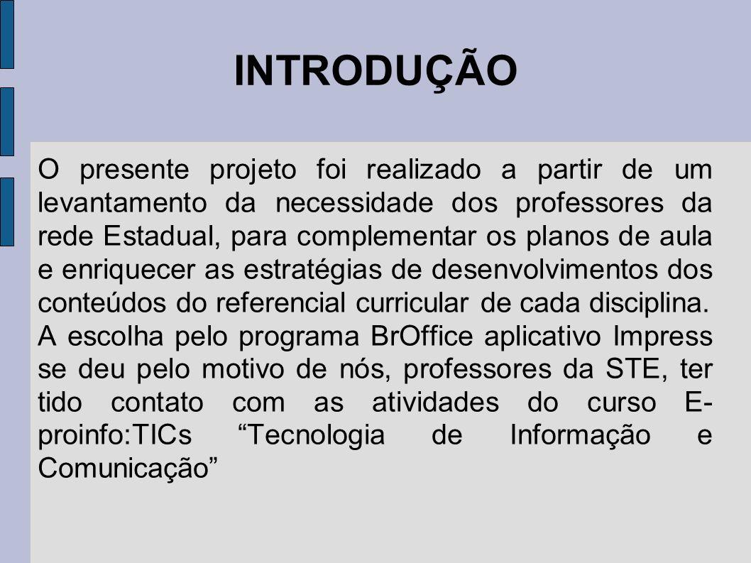 INTRODUÇÃO O presente projeto foi realizado a partir de um levantamento da necessidade dos professores da rede Estadual, para complementar os planos d
