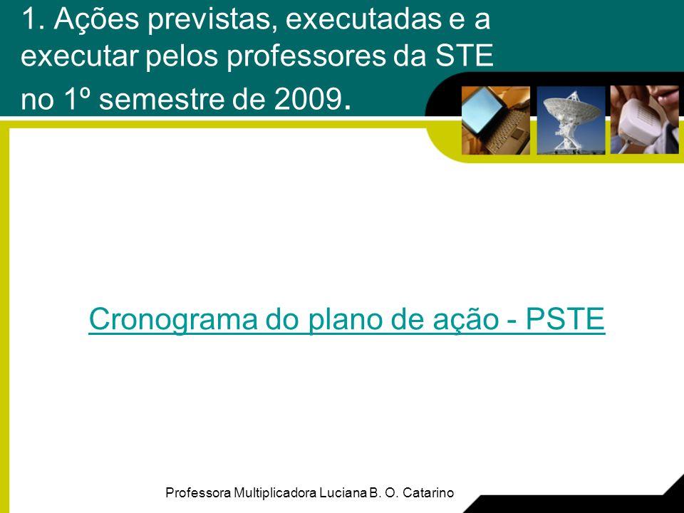 1. Ações previstas, executadas e a executar pelos professores da STE no 1º semestre de 2009. Cronograma do plano de ação - PSTE Professora Multiplicad