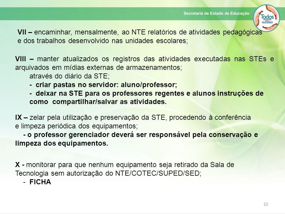 10 VII – encaminhar, mensalmente, ao NTE relatórios de atividades pedagógicas e dos trabalhos desenvolvido nas unidades escolares; VIII – manter atual