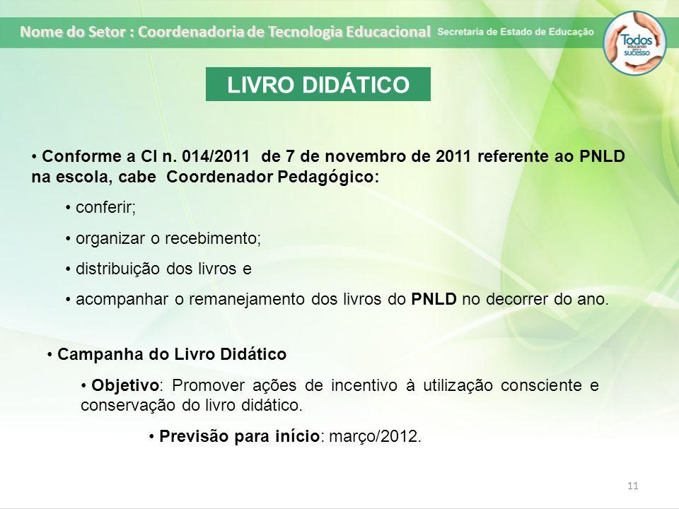 11 LIVRO DIDÁTICO Conforme a CI n. 014/2011 de 7 de novembro de 2011 referente ao PNLD na escola, cabe Coordenador Pedagógico: conferir; organizar o r