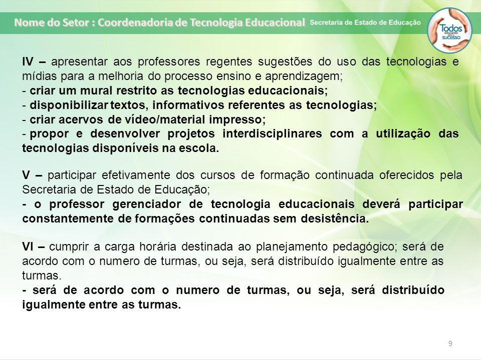 9 IV – apresentar aos professores regentes sugestões do uso das tecnologias e mídias para a melhoria do processo ensino e aprendizagem; - criar um mur