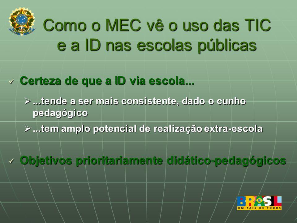 Como o MEC vê o uso das TIC e a ID nas escolas públicas Certeza de que a ID via escola...