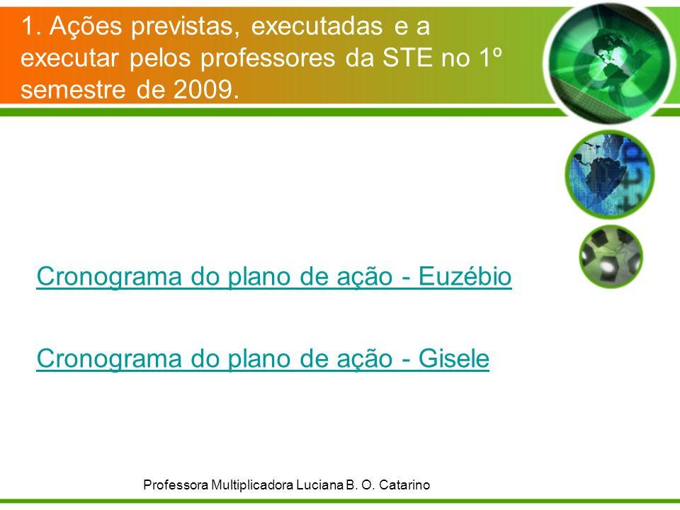 1. Ações previstas, executadas e a executar pelos professores da STE no 1º semestre de 2009. Cronograma do plano de ação - Euzébio Cronograma do plano