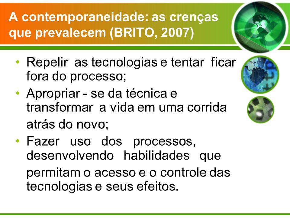 A contemporaneidade: as crenças que prevalecem (BRITO, 2007) Repelir as tecnologias e tentar ficar fora do processo; Apropriar - se da técnica e trans