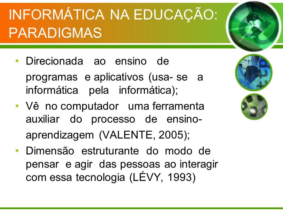 INFORMÁTICA NA EDUCAÇÃO: PARADIGMAS Direcionada ao ensino de programas e aplicativos (usa- se a informática pela informática); Vê no computador uma fe