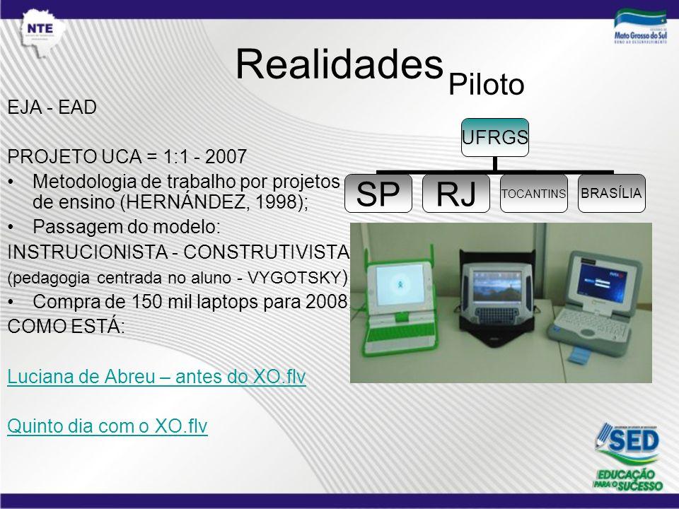 Realidades EJA - EAD PROJETO UCA = 1:1 - 2007 Metodologia de trabalho por projetos de ensino (HERNÁNDEZ, 1998); Passagem do modelo: INSTRUCIONISTA - C