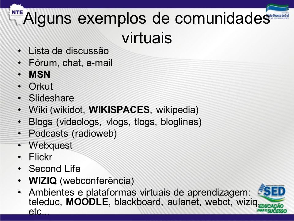 Alguns exemplos de comunidades virtuais Lista de discussão Fórum, chat, e-mail MSN Orkut Slideshare Wiki (wikidot, WIKISPACES, wikipedia) Blogs (video