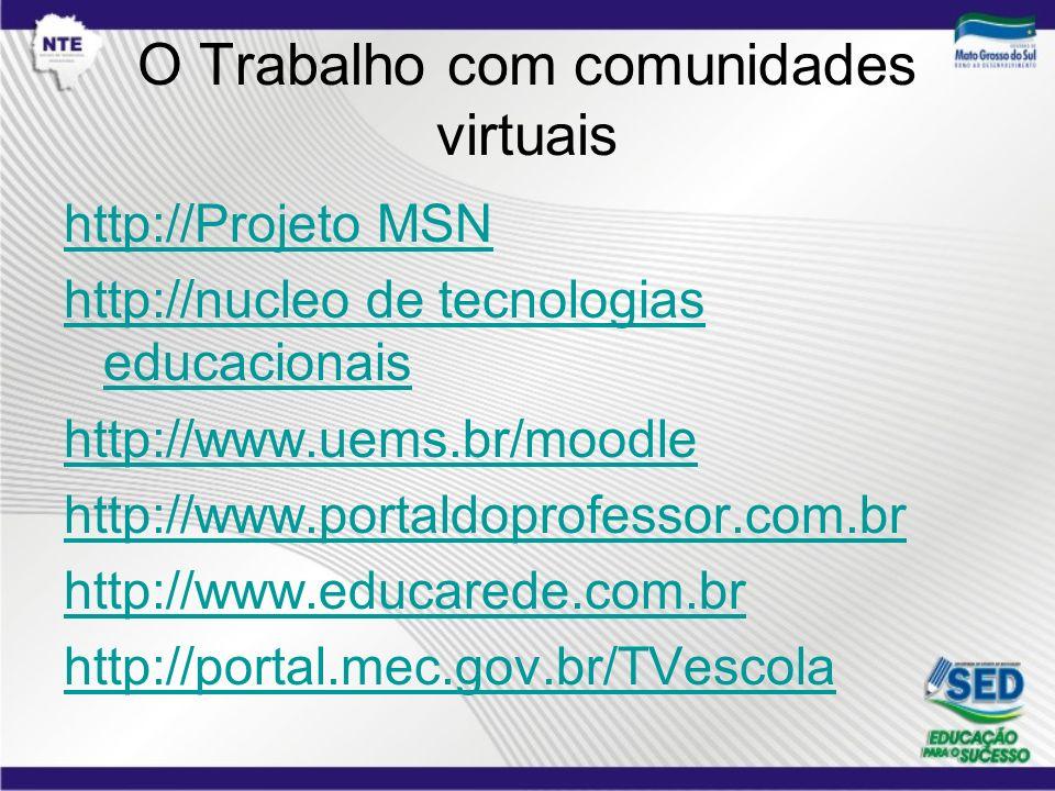 O Trabalho com comunidades virtuais http://Projeto MSN http://nucleo de tecnologias educacionais http://www.uems.br/moodle http://www.portaldoprofesso