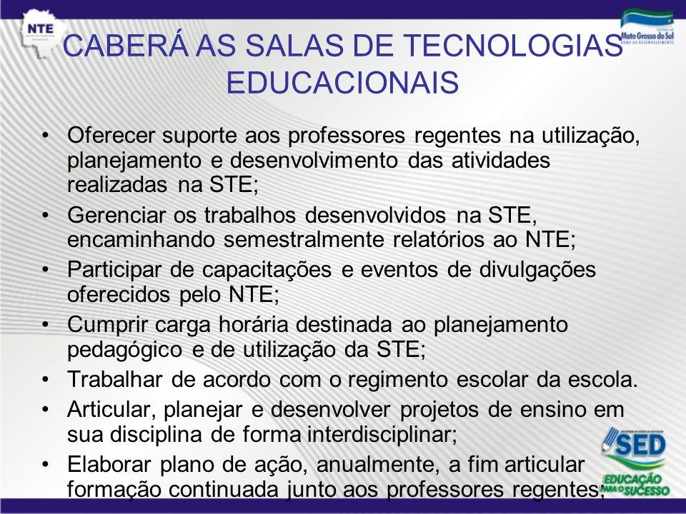 CABERÁ AS SALAS DE TECNOLOGIAS EDUCACIONAIS Oferecer suporte aos professores regentes na utilização, planejamento e desenvolvimento das atividades rea