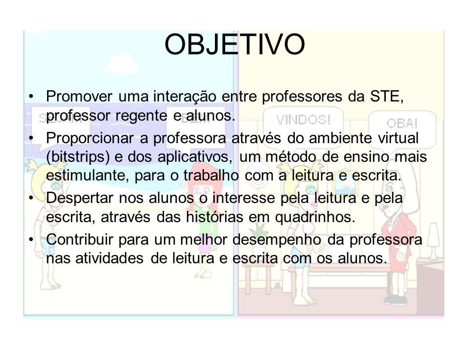 OBJETIVO Promover uma interação entre professores da STE, professor regente e alunos. Proporcionar a professora através do ambiente virtual (bitstrips