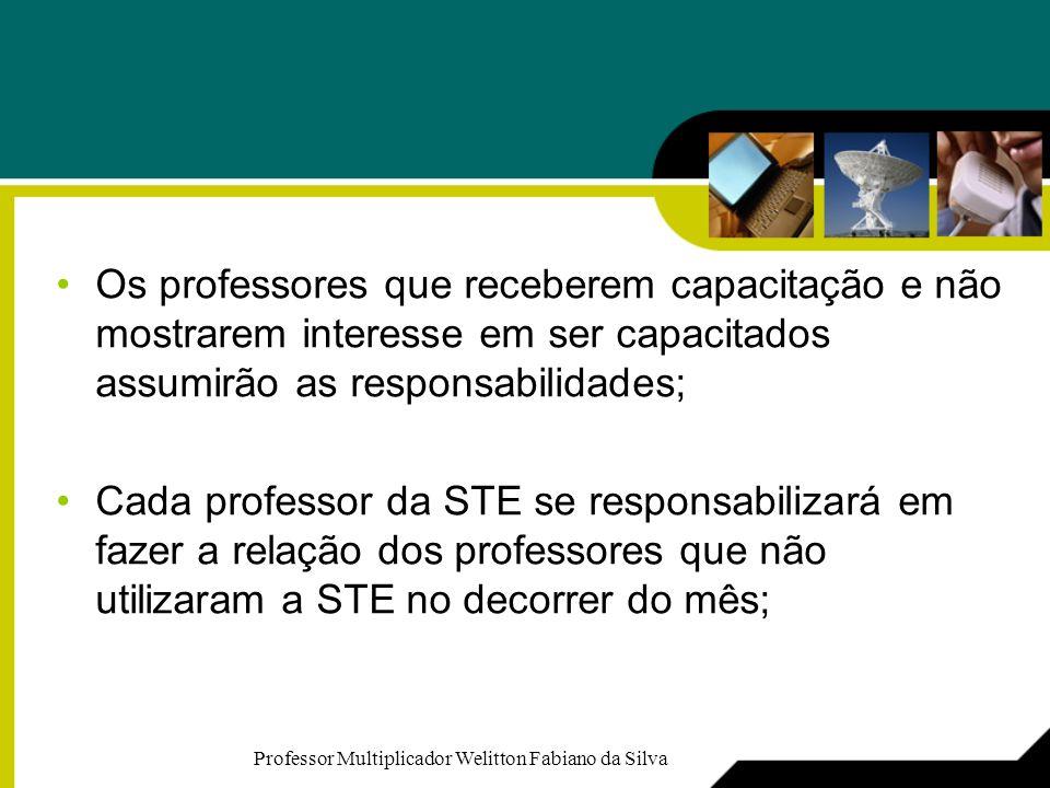 Os professores que receberem capacitação e não mostrarem interesse em ser capacitados assumirão as responsabilidades; Cada professor da STE se respons