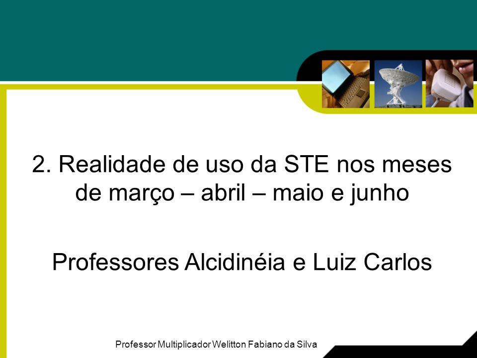 2. Realidade de uso da STE nos meses de março – abril – maio e junho Professores Alcidinéia e Luiz Carlos Professor Multiplicador Welitton Fabiano da