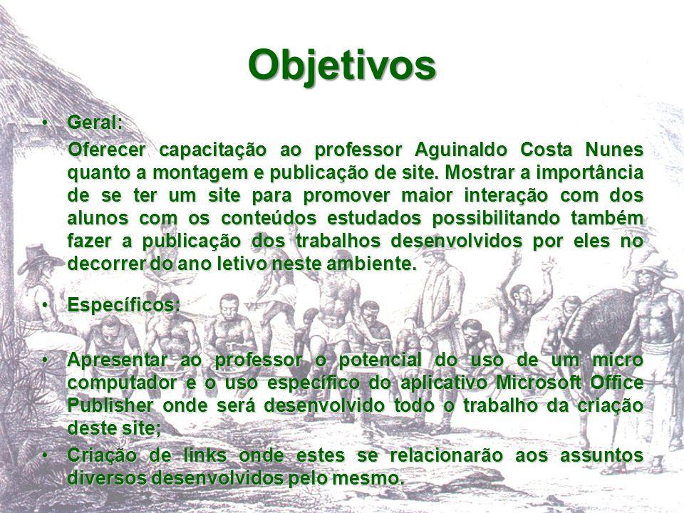 Geral: Oferecer capacitação ao professor Aguinaldo Costa Nunes quanto a montagem e publicação de site. Mostrar a importância de se ter um site para pr