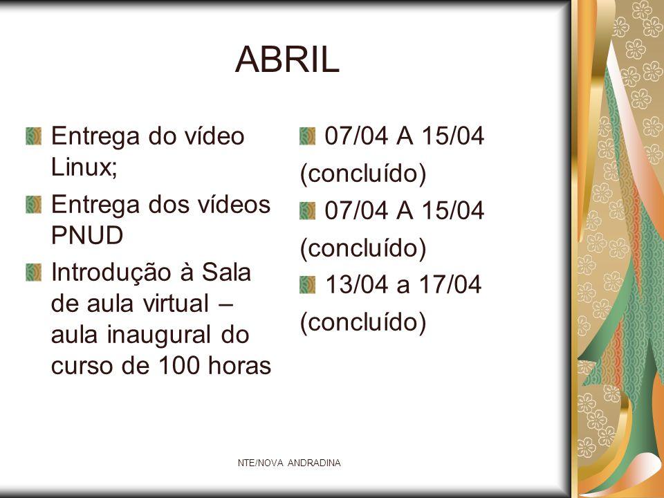 NTE/NOVA ANDRADINA ABRIL Entrega do vídeo Linux; Entrega dos vídeos PNUD Introdução à Sala de aula virtual – aula inaugural do curso de 100 horas 07/0