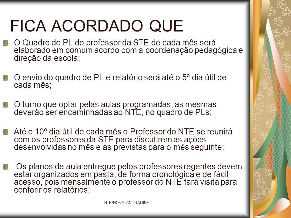 NTE/NOVA ANDRADINA FICA ACORDADO QUE O Quadro de PL do professor da STE de cada mês será elaborado em comum acordo com a coordenação pedagógica e dire