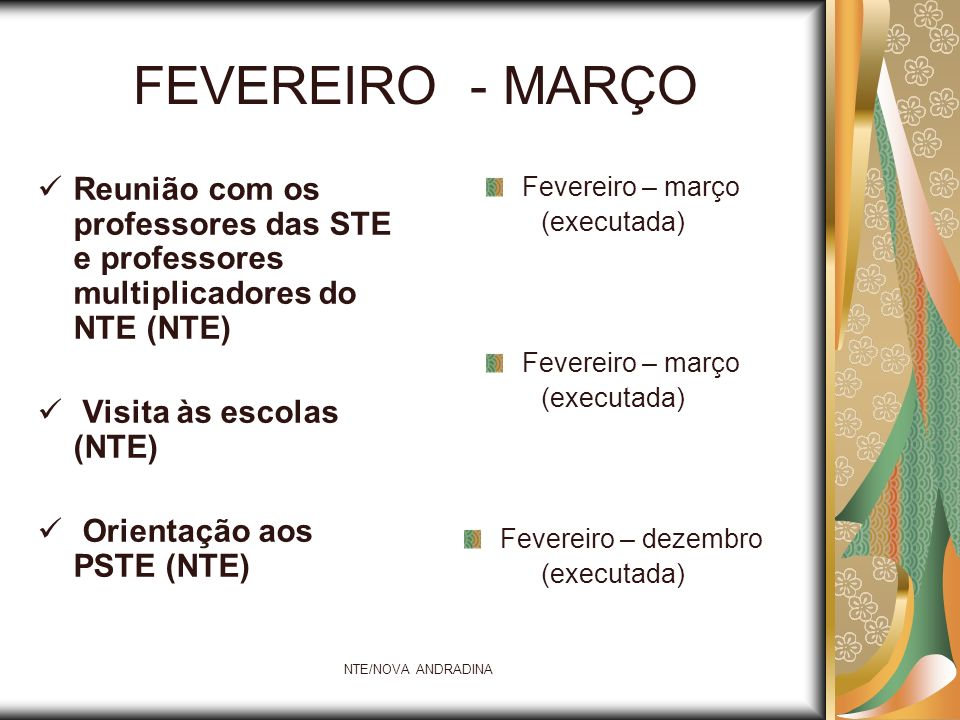 NTE/NOVA ANDRADINA Acompanhamento das atividades desenvolvidas pelos PSTE (NTE) Curso informática básica – Linux ou Windows (STE) Projeto Brasil Ponto a Ponto (STE) Março a dezembro (em andamento) Março – abril – maio ( concluído ) Março – abril ( concluído )