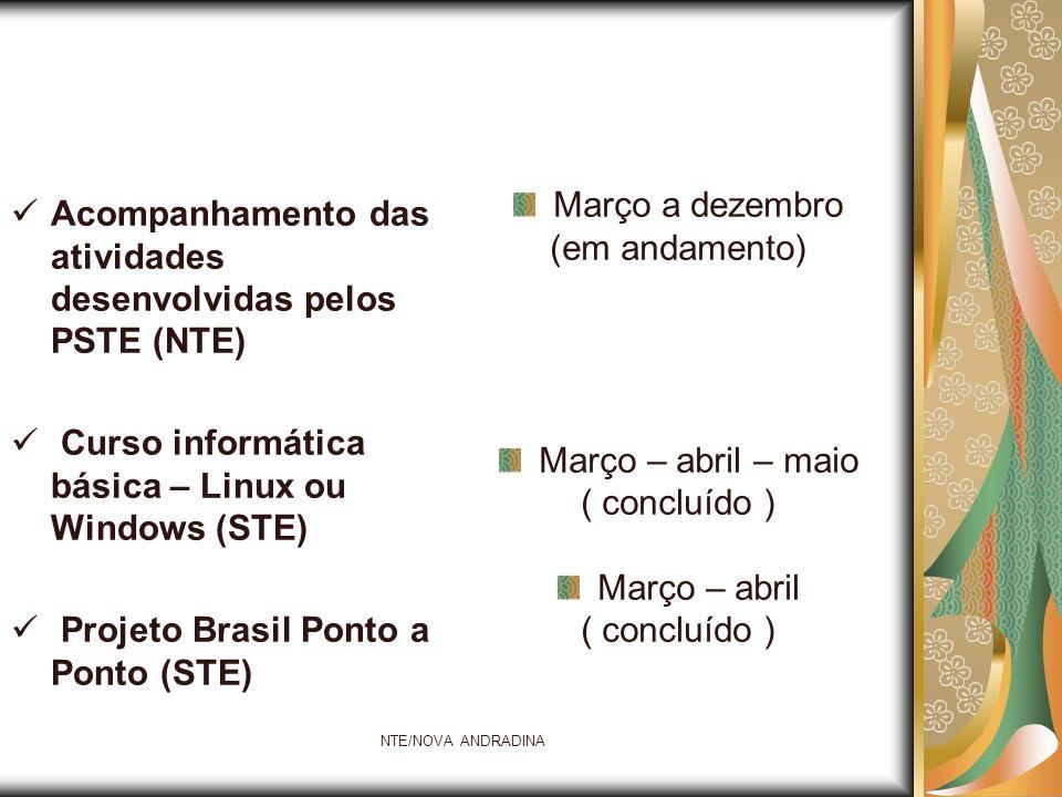 NTE/NOVA ANDRADINA Acompanhamento das atividades desenvolvidas pelos PSTE (NTE) Curso informática básica – Linux ou Windows (STE) Projeto Brasil Ponto