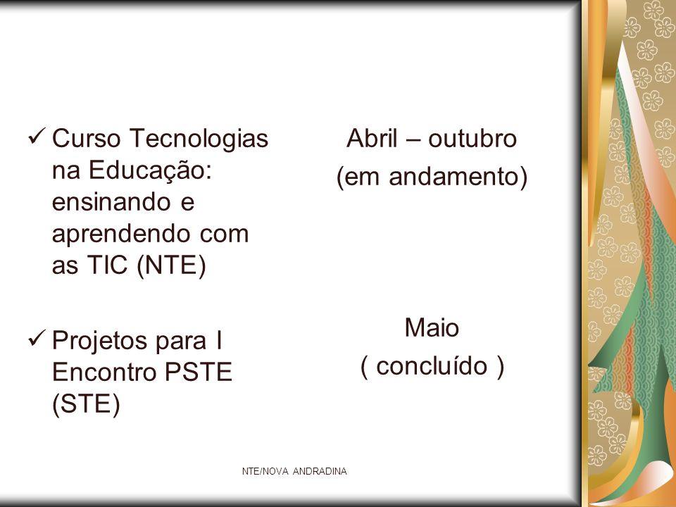 NTE/NOVA ANDRADINA ATAC II – Ambientes Tecnológicos de Aprendizagem Colaborativa e Proinfo integrado (NTE) Acompanhamento das atividades programadas nos projetos de ensino (NTE) Junho (concluído) Maio – junho – julho (em andamento)