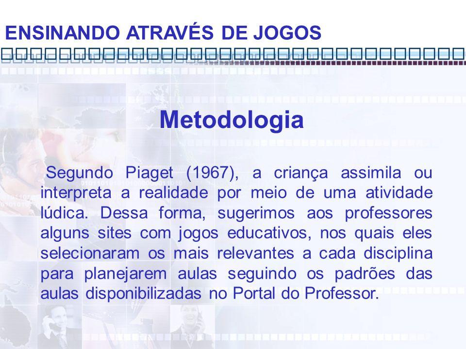 ENSINANDO ATRAVÉS DE JOGOS Metodologia Segundo Piaget (1967), a criança assimila ou interpreta a realidade por meio de uma atividade lúdica. Dessa for