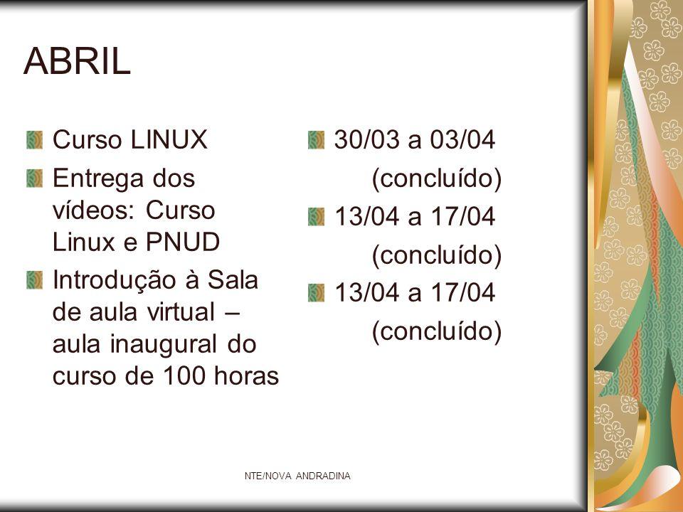 NTE/NOVA ANDRADINA ABRIL Curso LINUX Entrega dos vídeos: Curso Linux e PNUD Introdução à Sala de aula virtual – aula inaugural do curso de 100 horas 3