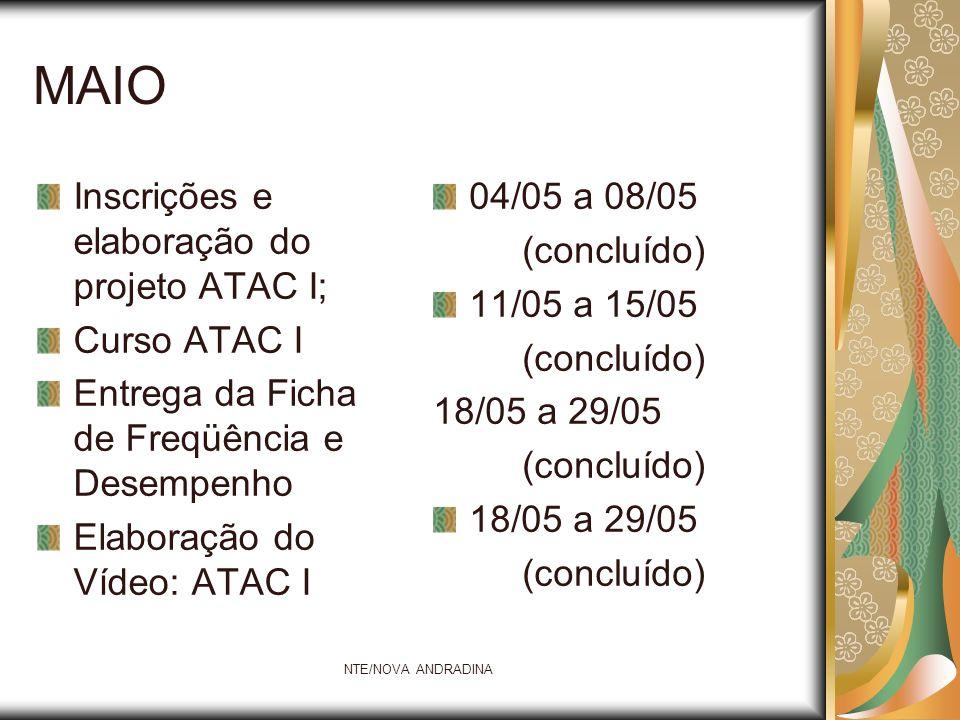 NTE/NOVA ANDRADINA MAIO Inscrições e elaboração do projeto ATAC I; Curso ATAC I Entrega da Ficha de Freqüência e Desempenho Elaboração do Vídeo: ATAC
