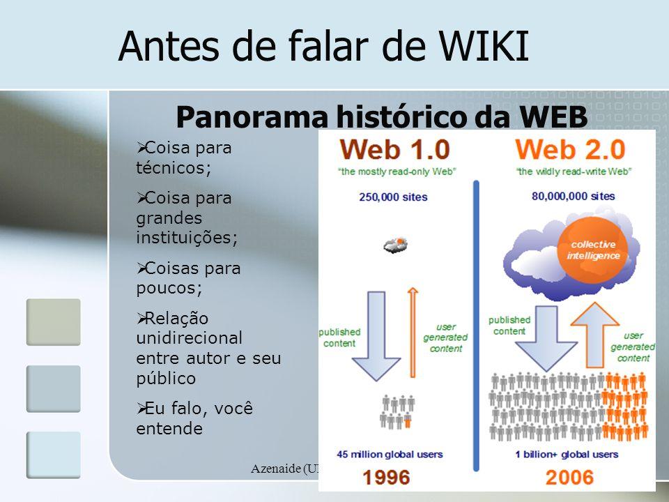 Azenaide (UEMS)/Carla (NTE) Antes de falar de WIKI Panorama histórico da WEB Coisa para técnicos; Coisa para grandes instituições; Coisas para poucos;