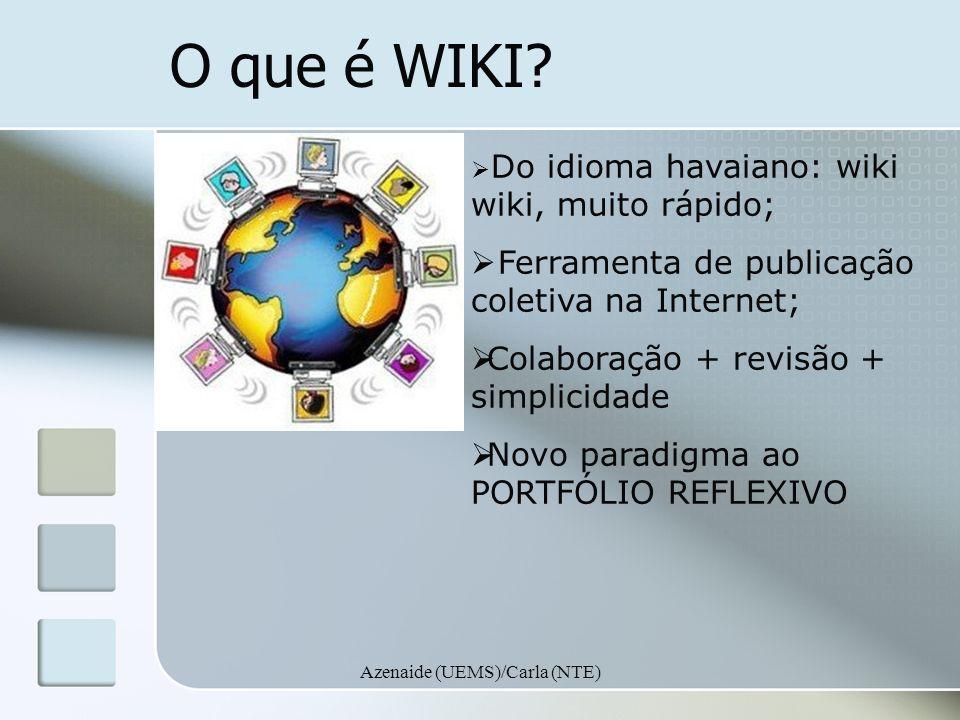 Azenaide (UEMS)/Carla (NTE) O que é WIKI? Do idioma havaiano: wiki wiki, muito rápido; Ferramenta de publicação coletiva na Internet; Colaboração + re