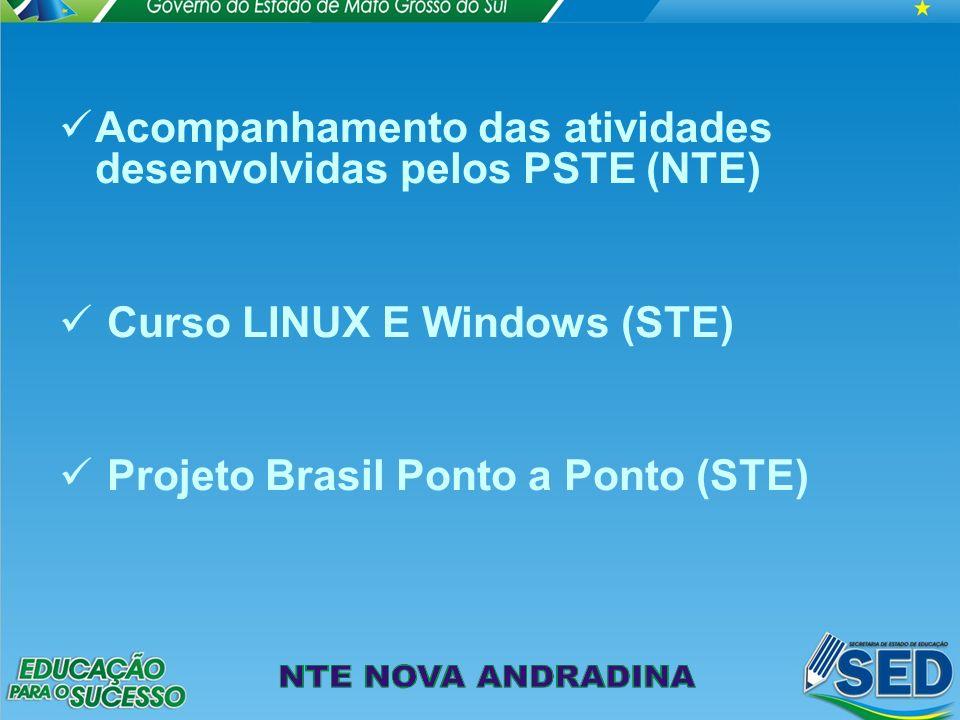 Acompanhamento das atividades desenvolvidas pelos PSTE (NTE) Curso LINUX E Windows (STE) Projeto Brasil Ponto a Ponto (STE)