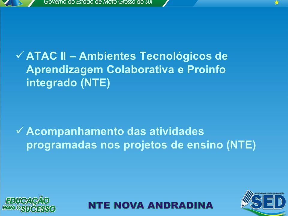ATAC II – Ambientes Tecnológicos de Aprendizagem Colaborativa e Proinfo integrado (NTE) Acompanhamento das atividades programadas nos projetos de ensino (NTE)
